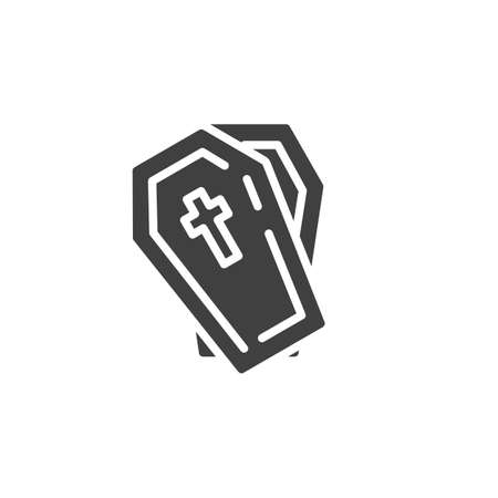 Halloween Coffin with cross vector icon. filled flat sign for mobile concept and web design. Open coffin glyph icon. Symbol, illustration. Vector graphics