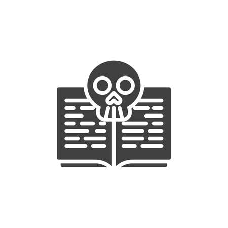 Death spell book vector icon. filled flat sign for mobile concept and web design. Halloween book with skull glyph icon. Symbol, illustration. Vector graphics