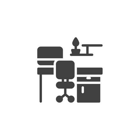 Workplace with computer vector icon. filled flat sign for mobile concept and web design. Desk with office chair and computer monitor glyph icon. Symbol, illustration. Vector graphics Archivio Fotografico - 129810352