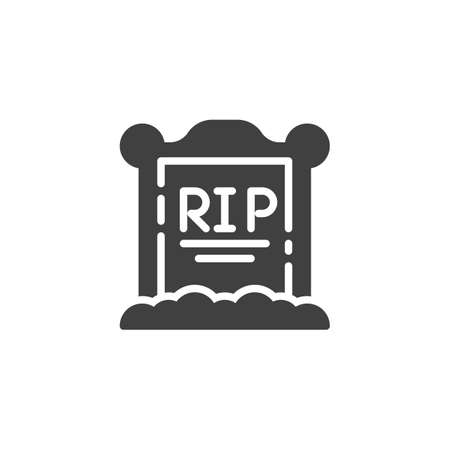 Tombstone on the grave vector icon. filled flat sign for mobile concept and web design. Gravestone glyph icon. Symbol, illustration. Vector graphics