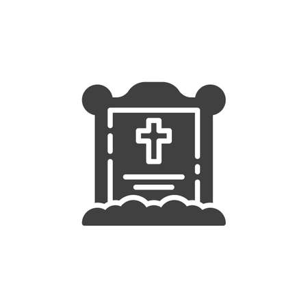 Halloween grave vector icon. filled flat sign for mobile concept and web design. Tombstone with cross glyph icon. Symbol, illustration. Vector graphics