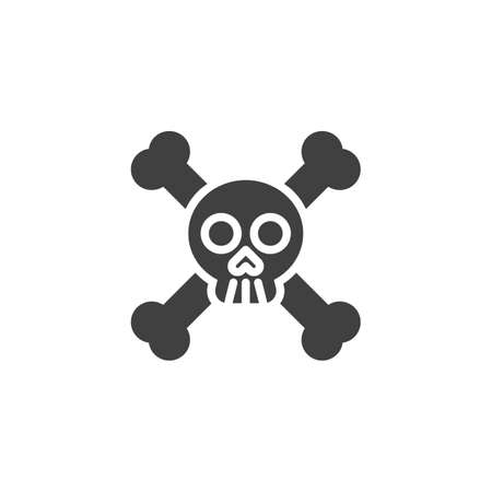 Skull and Crossbones vector icon. filled flat sign for mobile concept and web design. Crossbones, death skull glyph icon. Symbol, illustration. Vector graphics
