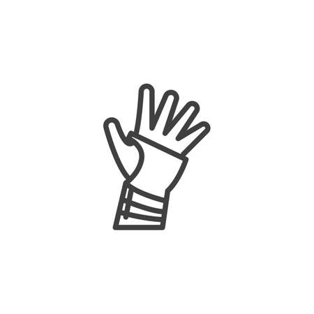 Orthopedic wrist brace line icon. linear style sign for mobile concept and web design. Hand with Bandage outline vector icon. Symbol, illustration. Vector graphics