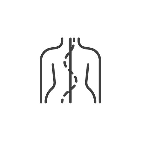 Human spine line icon. Orthopedic rehabilitation linear style sign for mobile concept and web design. Spinal deformation outline vector icon. Symbol, illustration. Vector graphics