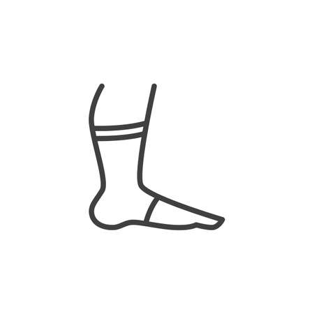 Leg with orthopedic bandage line icon. Foot ankle brace linear style sign for mobile concept and web design. Ankle with bandage outline vector icon. Symbol, illustration. Vector graphics Ilustracja
