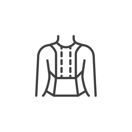 Posture Corrector line icon. linear style sign for mobile concept and web design. Orthopedic Lumbar Brace outline vector icon. Symbol, illustration. Vector graphics Vettoriali