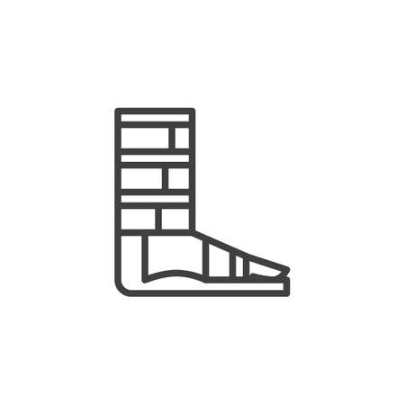 Orthopedic support for ankle line icon. linear style sign for mobile concept and web design. Foot ankle brace outline vector icon. Symbol,  illustration. Vector graphics