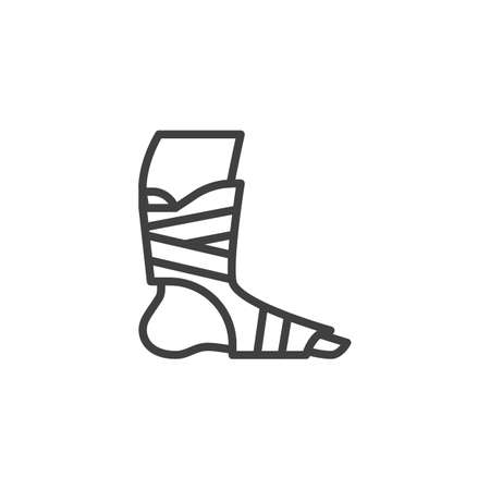 Orthopedic Ankle Bandage line icon. linear style sign for mobile concept and web design. Foot ankle brace outline vector icon. Symbol, illustration. Vector graphics
