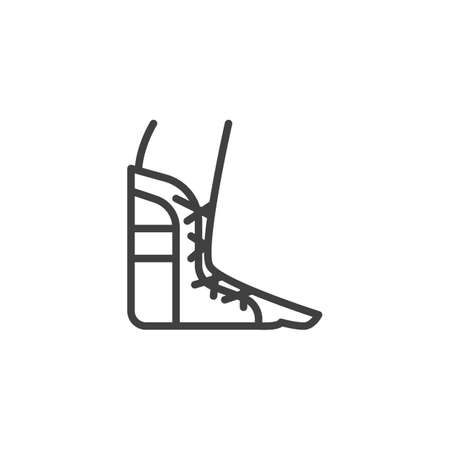 Foot ankle brace line icon. linear style sign for mobile concept and web design. Orthopedic Ankle Bandage outline vector icon. Symbol, illustration. Vector graphics