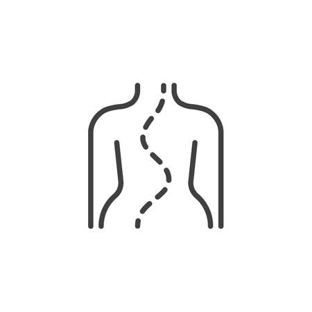 Spinal deformity type line icon. linear style sign for mobile concept and web design. Scoliosis spine outline vector icon. Symbol,  illustration. Vector graphics