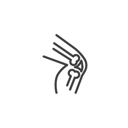 Human knee joint line icon. linear style sign for mobile concept and web design. Knee pain outline vector icon. Symbol, illustration. Vector graphics  イラスト・ベクター素材