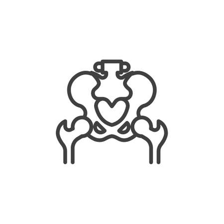 Pelvis bones line icon. linear style sign for mobile concept and web design. Hip joint outline vector icon. Symbol, illustration. Vector graphics