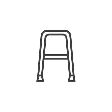 Walker for disabled line icon. linear style sign for mobile concept and web design. Walker outline vector icon. Symbol, illustration. Vector graphics
