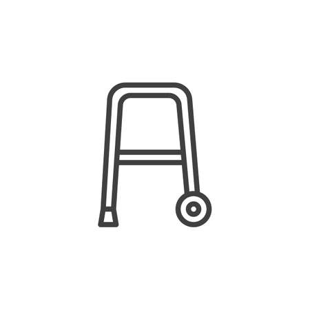 Rollator walker line icon. linear style sign for mobile concept and web design. Walker with wheels outline vector icon. Symbol, illustration. Vector graphics