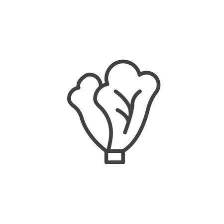 Cabbage leaves line icon. linear style sign for mobile concept and web design. Lettuce outline vector icon. Symbol, illustration. Vector graphics Иллюстрация
