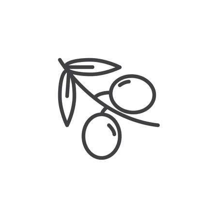 Olive branch line icon. linear style sign for mobile concept and web design. outline vector icon. Symbol, illustration. Vector graphics