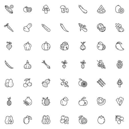 Fruits and vegetables line icons set. linear style symbols collection, outline signs pack. vector graphics. Set includes icons as dragon fruit, Cucumber, Tomato, Potatoes vegetable, Paprika, Pumpkin