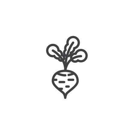 Radish vegetable line icon. linear style sign for mobile concept and web design. Fresh radish outline vector icon. Symbol, illustration. Vector graphics