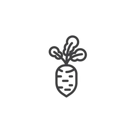 Fresh beet vegetable line icon. linear style sign for mobile concept and web design. Beetroot outline vector icon. Symbol, illustration. Vector graphics