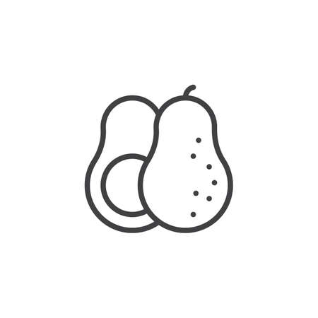Avocado whole and slice line icon. linear style sign for mobile concept and web design. Fresh fruit avocado outline vector icon. Symbol,  illustration. Vector graphics