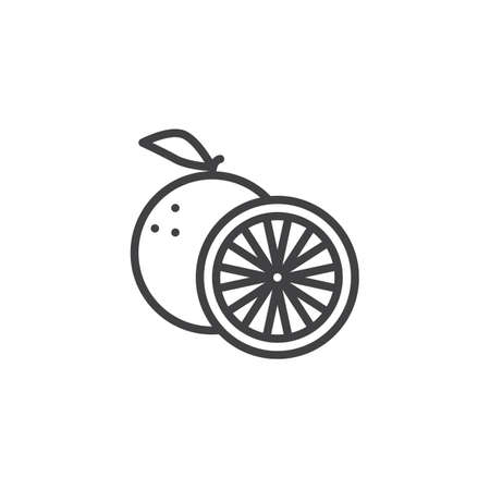 Orange fruit line icon. linear style sign for mobile concept and web design. Orange whole and slice outline vector icon. Symbol, illustration. Vector graphics