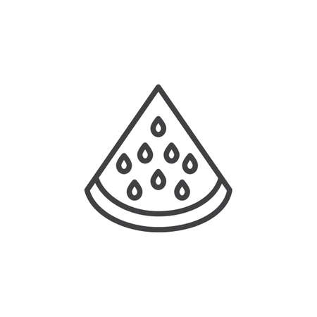 Watermelon fruit line icon. linear style sign for mobile concept and web design. Watermelon slice outline vector icon. Symbol,  illustration. Vector graphics  イラスト・ベクター素材