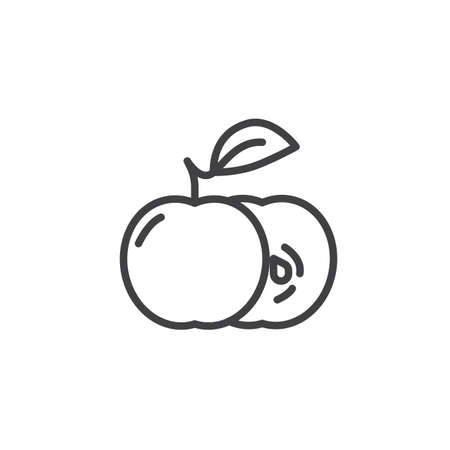 Apple slice and whole line icon. linear style sign for mobile concept and web design. Apples with leaf outline vector icon. Symbol, illustration. Vector graphics