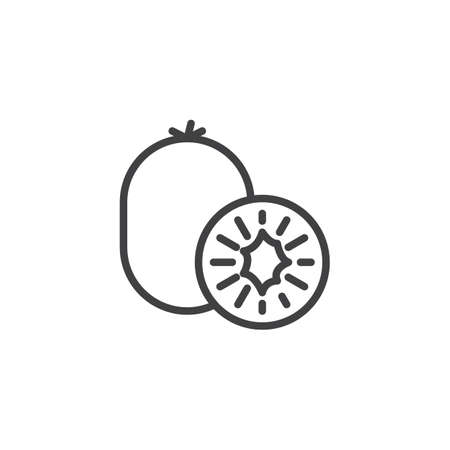 Kiwi fruit line icon. linear style sign for mobile concept and web design. Kiwi whole and slice outline vector icon. Symbol,  illustration. Vector graphics