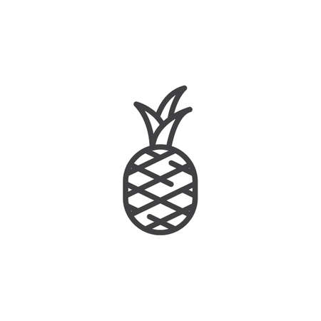 Pineapple fruit line icon. linear style sign for mobile concept and web design. Pineapple with leaves outline vector icon. Symbol,  illustration. Vector graphics Иллюстрация