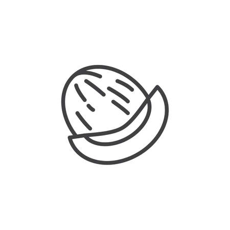 Honeydew melon line icon. linear style sign for mobile concept and web design. Whole and slice of japanese melons outline vector icon. Symbol,  illustration. Vector graphics