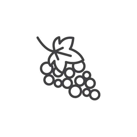Grape with leaves line icon. linear style sign for mobile concept and web design. Grape bunch outline vector icon. Symbol,  illustration. Vector graphics