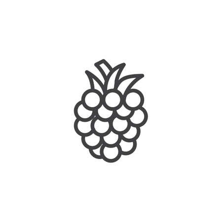 Raspberry line icon. linear style sign for mobile concept and web design. Blackberry outline vector icon. Symbol, illustration. Vector graphics