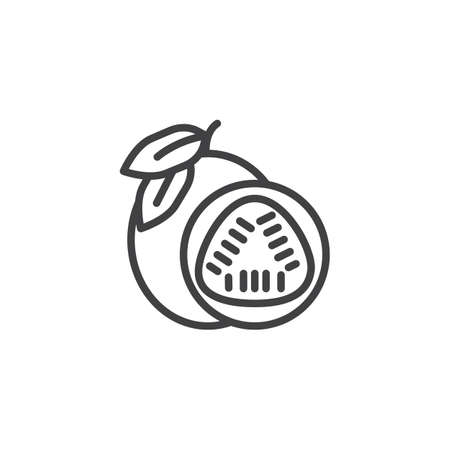 Passion fruit line icon. linear style sign for mobile concept and web design. Whole and sliced passion fruit outline vector icon. Symbol,  illustration. Vector graphics