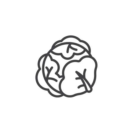Cabbage vegetable line icon. linear style sign for mobile concept and web design. Cabbage with big leaves outline vector icon. Symbol, illustration. Vector graphics Иллюстрация