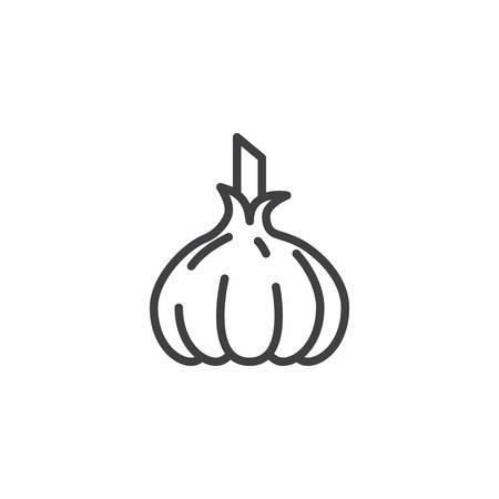 Icono de línea de ajo crudo. signo de estilo lineal para concepto móvil y diseño web. Icono de vector de contorno de ajo. Símbolo, ilustración. Gráficos vectoriales
