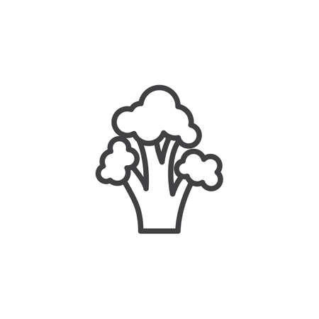 Broccoli cabbage vegetable line icon. linear style sign for mobile concept and web design. Fresh broccoli outline vector icon. Symbol,  illustration. Vector graphics