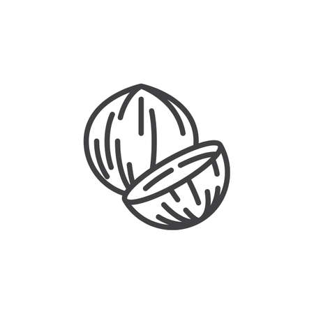 Coconut nut line icon. linear style sign for mobile concept and web design. Coconut whole and slice outline vector icon. Symbol,  illustration. Vector graphics