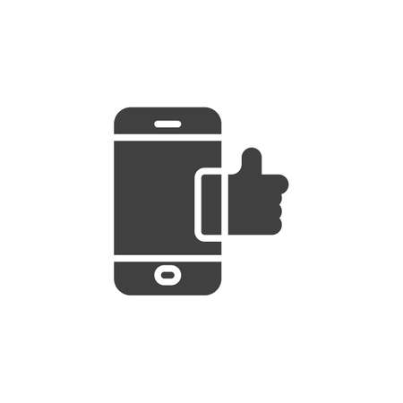 Smartphone with like notice vector icon. filled flat sign for mobile concept and web design. Mobile phone with thumb up glyph icon. Symbol,  illustration. Vector graphics