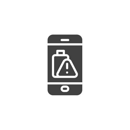 Phone battery low alert vector icon. filled flat sign for mobile concept and web design. Smartphone battery warning sign glyph icon. Symbol,  illustration. Vector graphics
