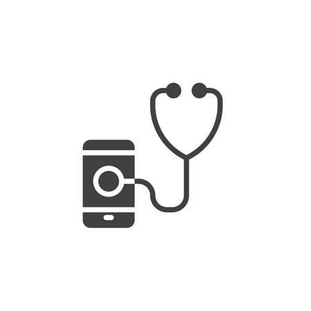 Smartphone diagnostic vector icon. filled flat sign for mobile concept and web design. Mobile phone with stethoscope glyph icon. Symbol, illustration. Vector graphics