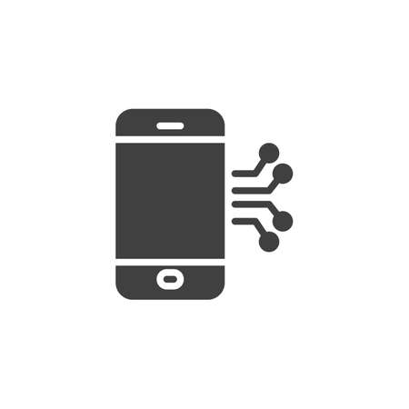 Mobile phone circuit vector icon. filled flat sign for mobile concept and web design. Smartphone repair glyph icon. Symbol, illustration. Vector graphics