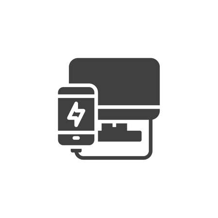 Mobile phone plugged and charging from computer vector icon. filled flat sign for mobile concept and web design. Smartphone repair glyph icon. Symbol, illustration. Vector graphics