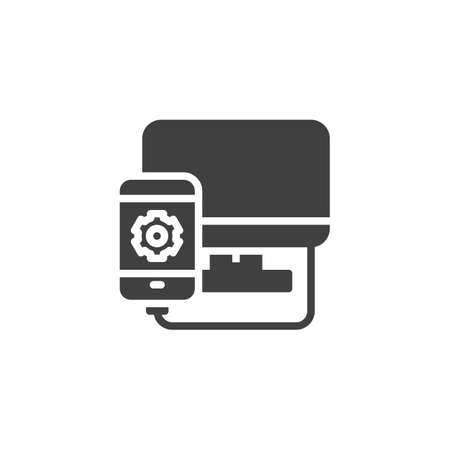 Mobile phone repair vector icon. filled flat sign for mobile concept and web design. Smartphone connected by computer glyph icon. Symbol,  illustration. Vector graphics