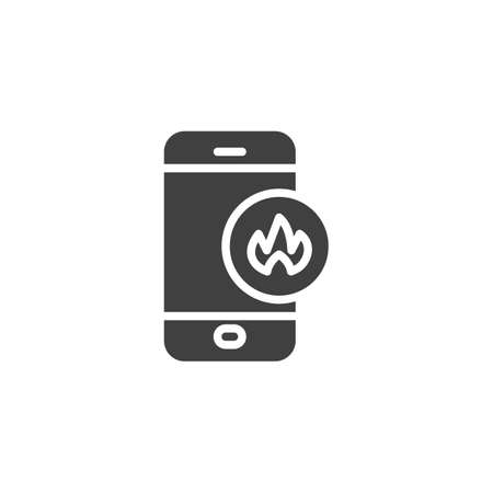 Smartphone with fire flame vector icon. filled flat sign for mobile concept and web design. Mobile phone repair service glyph icon. Symbol,  illustration. Vector graphics