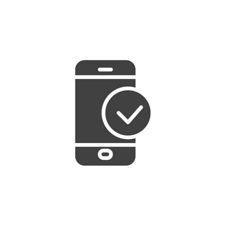 Smartphone Check vector icon. filled flat sign for mobile concept and web design. Phone check mark glyph icon. Symbol, illustration. Vector graphics