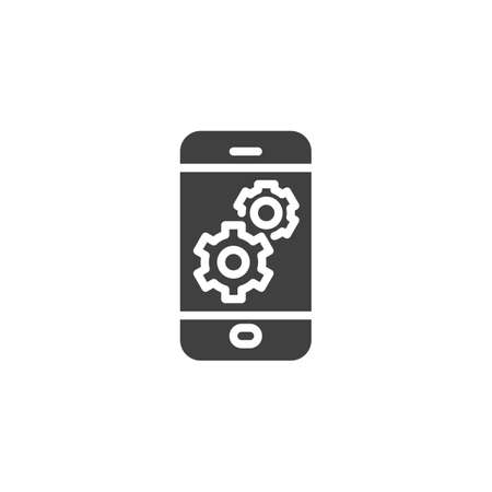 Mobile phone settings vector icon. filled flat sign for mobile concept and web design. Smartphone screen with gear glyph icon. Symbol, illustration. Vector graphics Stok Fotoğraf - 129810690