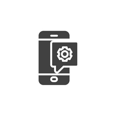 Phone settings notification vector icon. Mobile repair support filled flat sign for mobile concept and web design. Smartphone with gear glyph icon. Symbol, illustration. Vector graphics