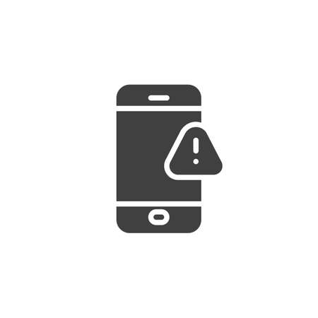 Phone with exclamation sign vector icon. filled flat sign for mobile concept and web design. Smartphone alert notification glyph icon. Symbol, illustration. Vector graphics Çizim
