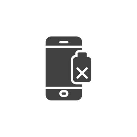 Damaged phone battery vector icon. filled flat sign for mobile concept and web design. Smartphone battery low glyph icon. Symbol, illustration. Vector graphics Çizim