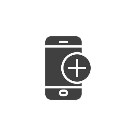 Mobile phone with add sign vector icon. filled flat sign for mobile concept and web design. Smartphone plus glyph icon. Symbol, illustration. Vector graphics